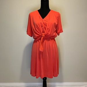 Lush Coral Front Tie Dress